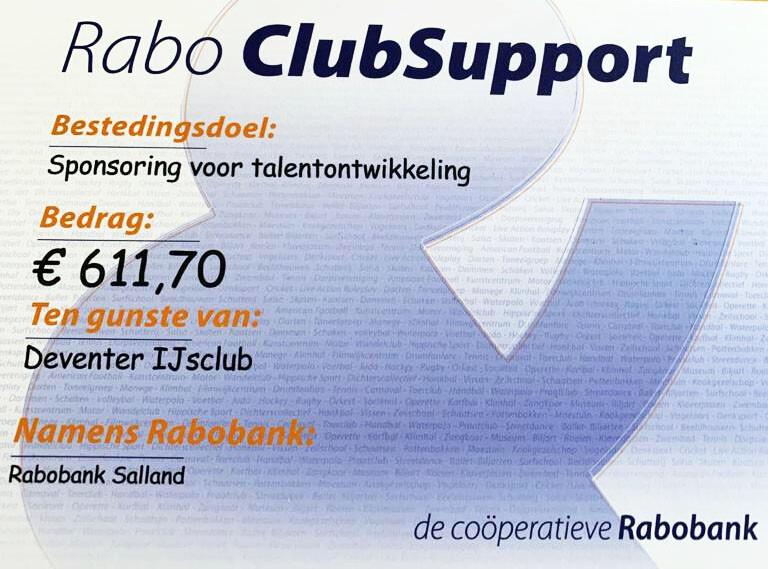 Opbrengst van Rabo ClubSupport!